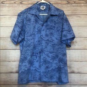 Vintage Hilo Hattie Blue Hawaiian Aloha Shirt XL